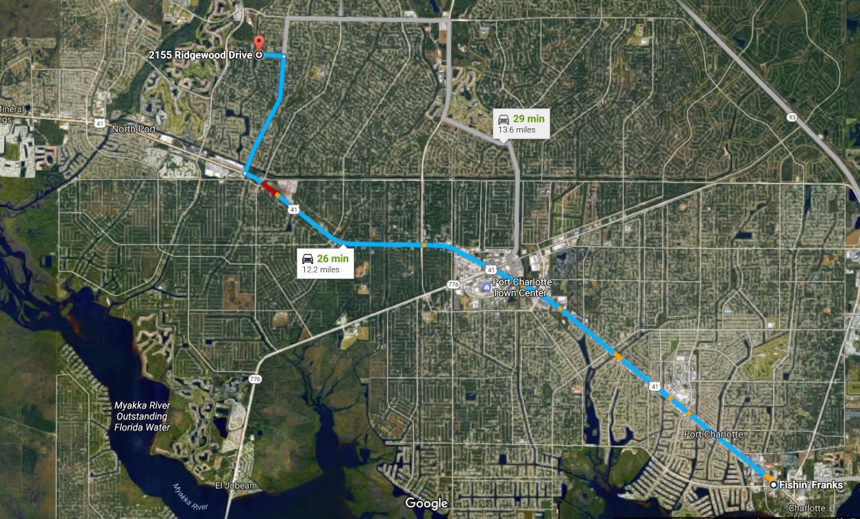 Blue Ridge Park Fishin Franks Where To Fish North Port Blue Ridge - Florida map north port