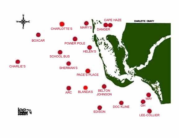 Florida Artificial Reefs Map.Fishing Reefs Locations Latitude Longitude Fishing Information